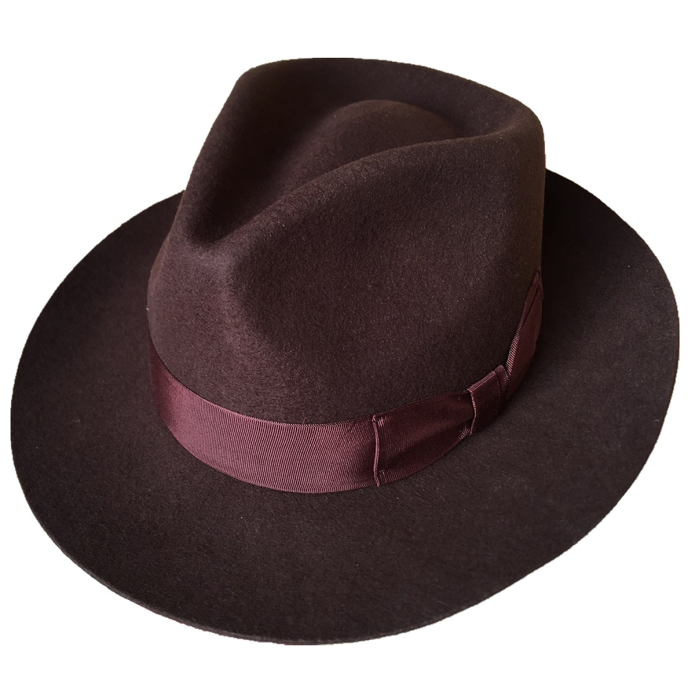 73876fb3c566c Classic Wool Felt Homburg Godfather Fedora Bowler Hat For Men Women ...