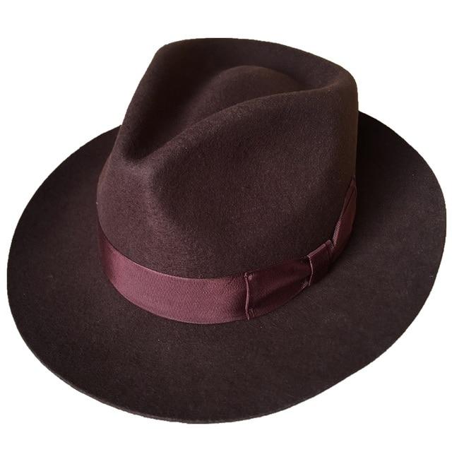 819dae65ff6fb9 Classic Brown Wool Men's Fur Felt Fedora Gangsters Hipsters Hat -in ...
