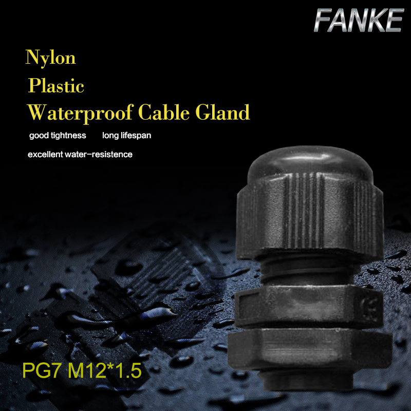1piece PG7 Waterproof Nylon Plastic Cable Gland Connector  for 3-6.5mm Cable black color Factory wholesale  Hot Sale IP68
