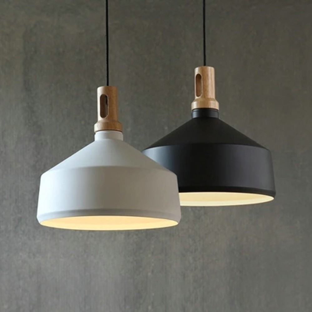 Nordic vintage industrial wood metal pendant light loft for Lampe suspendu noir