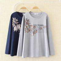 Plus Size Printing Flower Long Women T Shirt 2017 Autumn Casual O Neck Full Sleeve 4XL