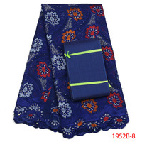 Latest African Dry Voile Fabric 2018 Swiss Voile Lace In Switzerland Blue Cotton Fabric Lace With Stones And Aso Oke XZ1952B 2