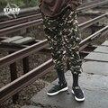 ATHIEF БРЮКИ Камуфляж брюки мужчины свободные карманы упругой пачки комбинезоны Jogger военные вышитые ткани