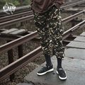 ATHIEF PANTS Camouflage trousers men loose pockets elastic bundles overalls Jogger military embroidered cloth