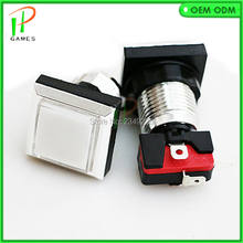 33mm CHROME Plated illuminated push button 12v LED square Arcade Push Button with microswitch starts witch button for game parts(China)