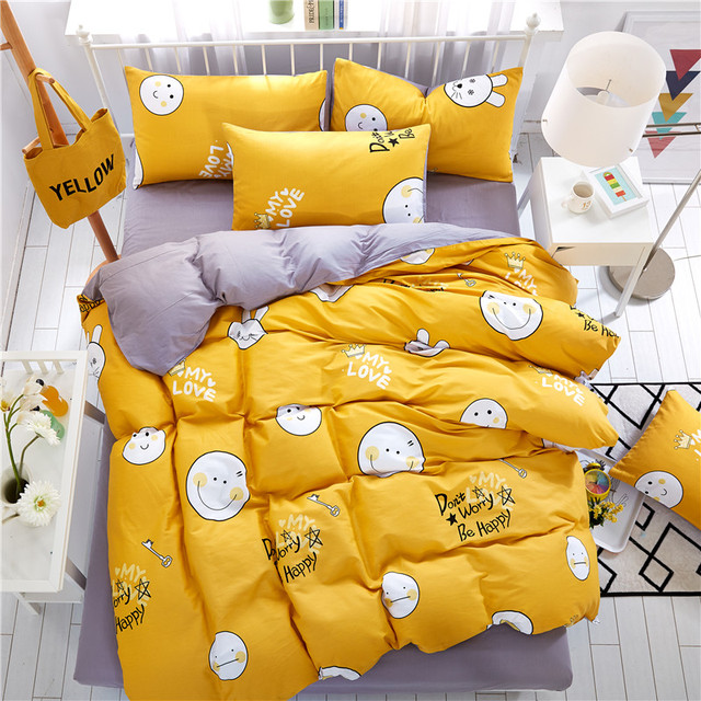 Home Textiles,Lovely Yellow Smiley Face Style 100%Cotton Bedding Sets 4Pcs  Duvet Cover