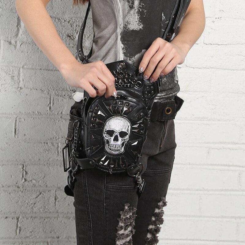 PU cuir unisexe goutte jambe ceinture taille Pack sacs Punk Rock moto cavalier crâne Hip Bum croix corps Messenger épaule Fanny sac