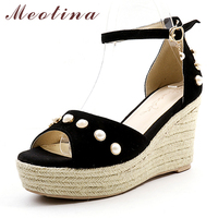 Meotina Women Sandals Ankle Strap Shoes Platform Wedge Heels Party Shoes Fashion Pearl Ladies Sandals Female Summer Pink Size 39