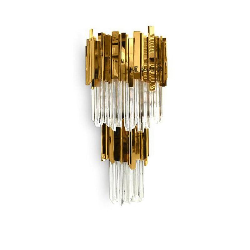 creative luxury crystal wall lamp gold hotel restaurant bedroom model room personalized lighting wall light ZA1127713