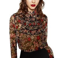 Fashion Womens Floral Printed Multilayer Ruffles Stand Collar Blouses Sweet Long Sleeve Shirt Tops Female Casual
