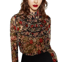 Fashion Womens Floral Printed Multilayer Ruffles Stand Collar Blouses Sweet Long Sleeve Shirt Tops Female Casual Blusas Feminina