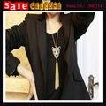 Панк золотой черной эмалью долго кисточкой животных леопарда ожерелье горный хрусталь тигр костюм ожерелье сеть для женщин