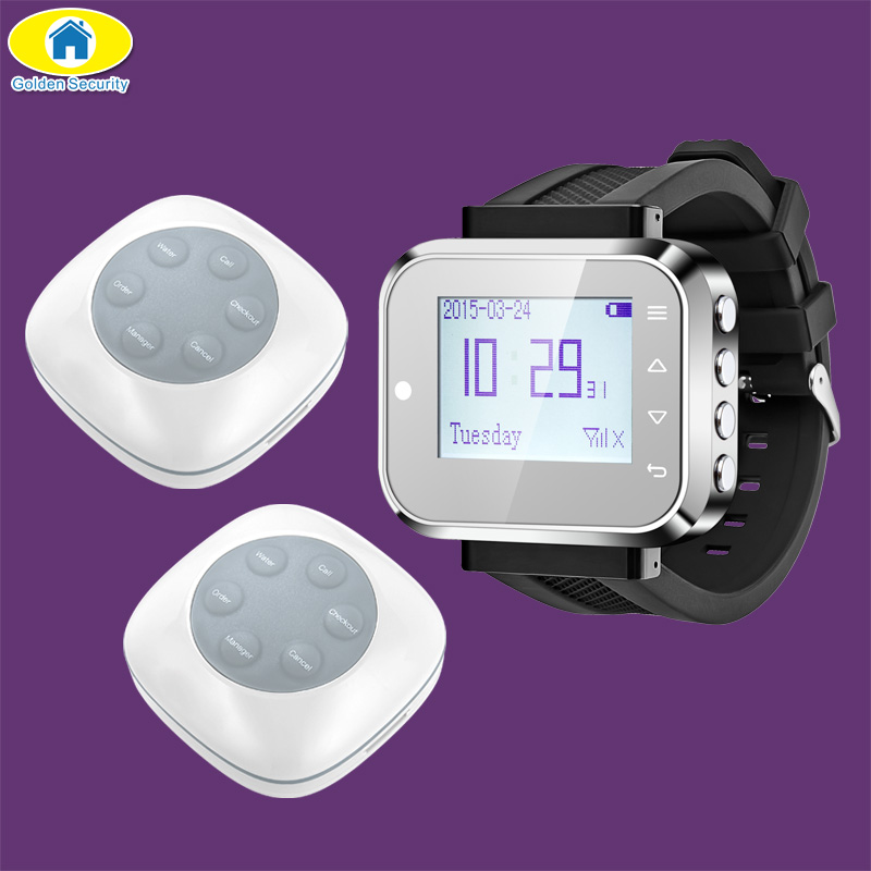 Golden Security FSK C166 Watch Wireless Calling Service System for Office Restaurant Coffee Shop,1 Watch,2 Pager Buttons singcall wireless waiter service calling system for bank pack of 5 buttons and 1 pc watch for restaurant cafe shop