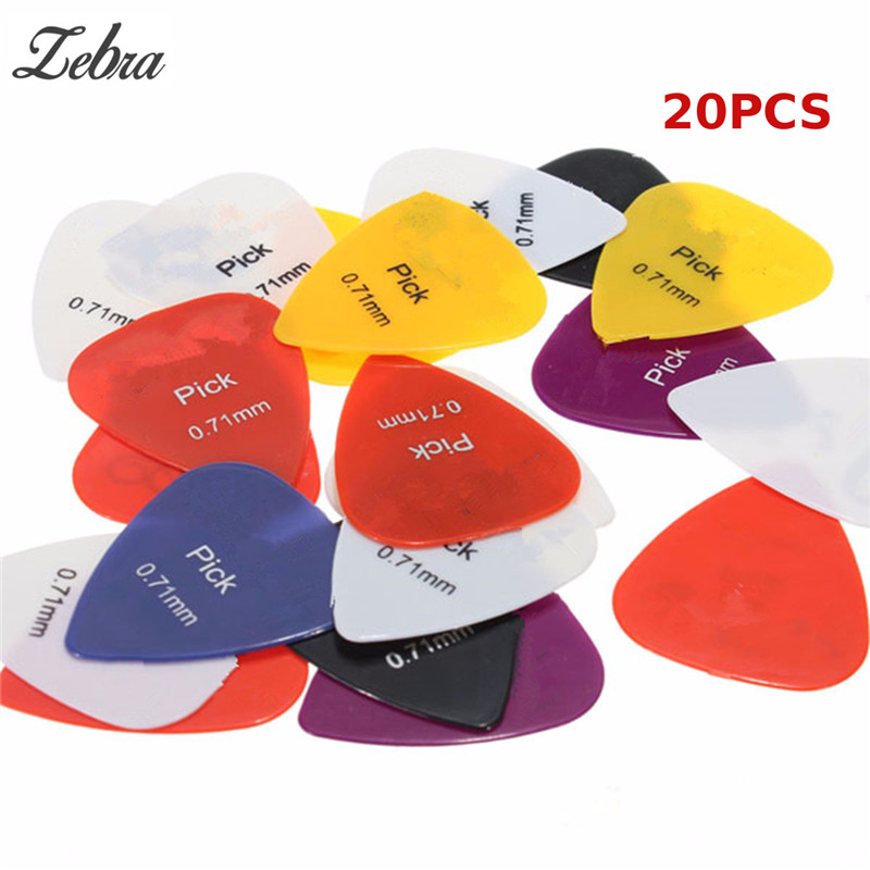 Hot Sale 20 pieces of Nylon Colorful Professional Guitar Picks Guitar Plectrums 0.71mm For Acoustic Electric Guitar Bass