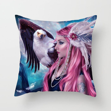 Fuwatacchi Home Decor Magical Girl Cushion Covers Butterfly Forest Horse Pillow Cover for Chair Sofa Office Anime Pillowcase