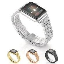 2017 Новая Модель Стиль Кристалл Rhinestone Алмазный Браслеты Для Часов Из Нержавеющей Стали Браслет Ремешок для Apple Watch Полос 38 мм 42 мм женщины
