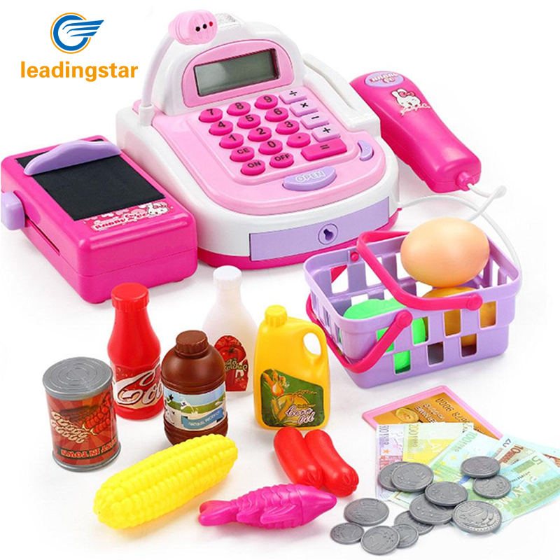 LeadingStar Kids Plastic Cash Register Cashier Pretend & Play Children Early Educational Toy with Shopping Basket