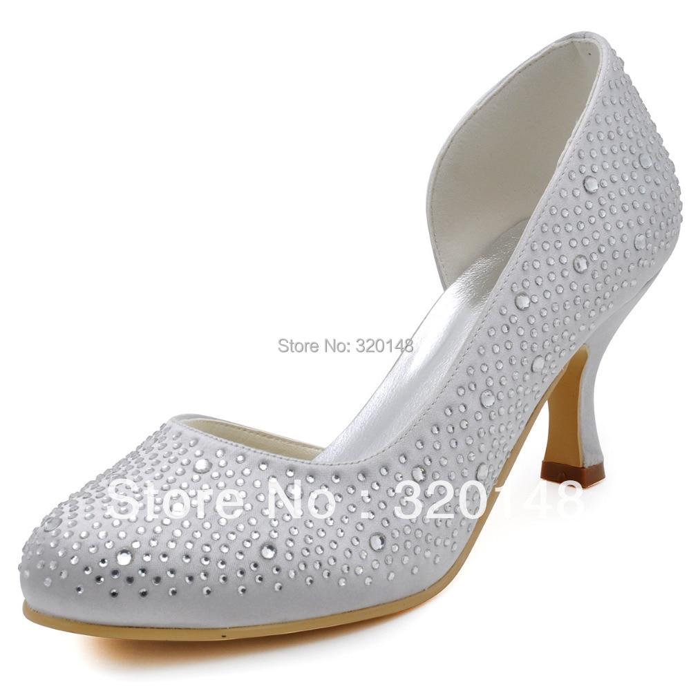 ФОТО Wholesale and Retail Fashion Women Shoes EP2129 White Round Toe Rhinestone 2.5
