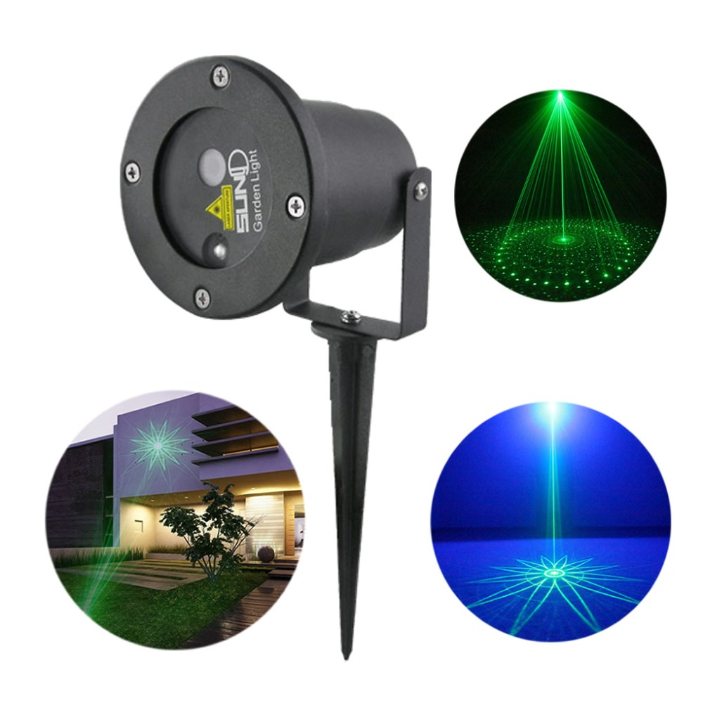 Waterproof 8 Big Patterns Green Laser Blue LED Outdoor/Indoor ...