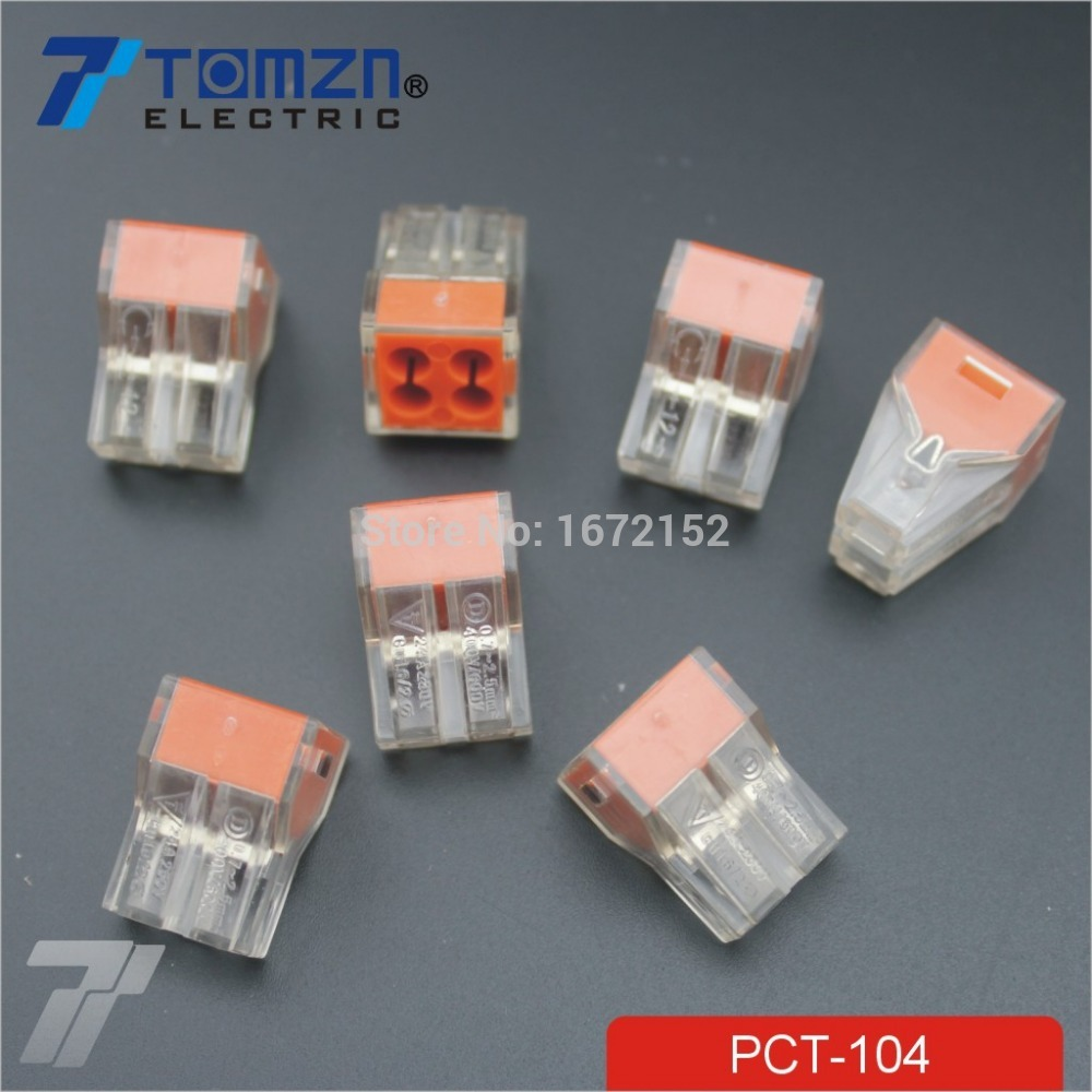 100Pcs PCT 104 Push wire wiring connector For Junction box 4 pin ...