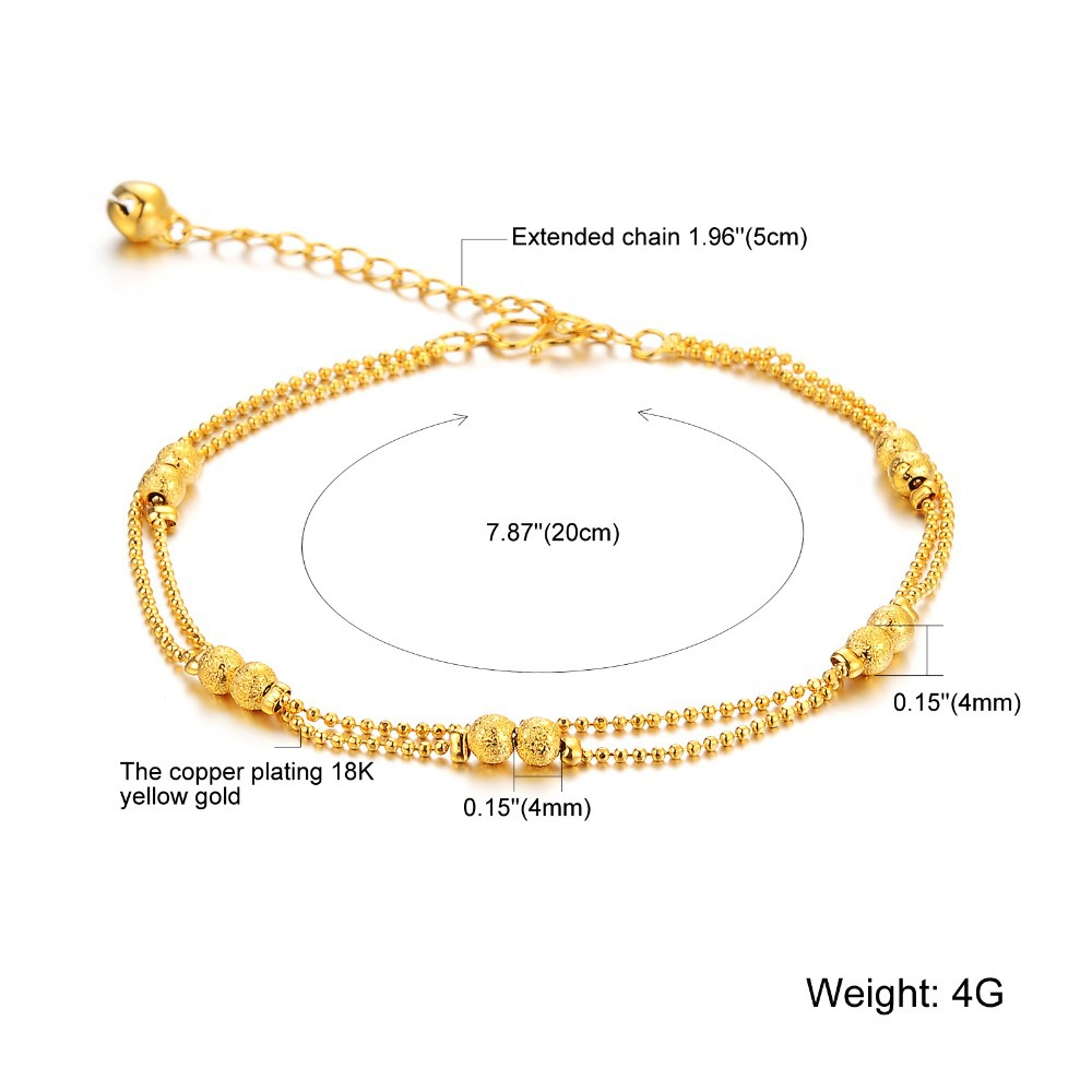 cb2916214 City New Fashion Jewelry Frosted Matte Double Little Ball Anklets Bracelet  for Women / Lady / Girl KZ728-in Anklets from Jewelry & Accessories on ...