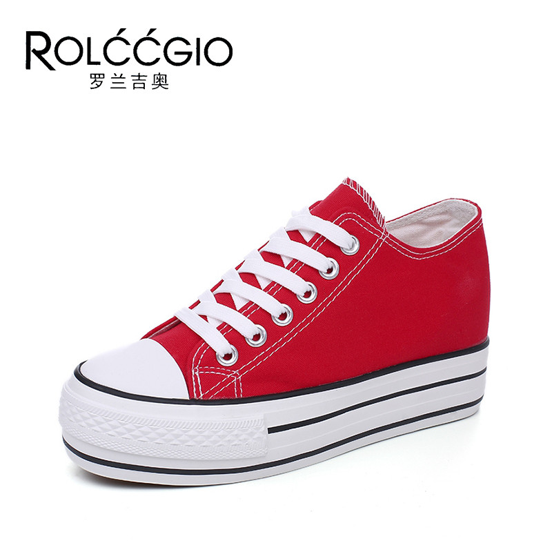 ROLCCGIO Fashion Canvas Vulcanized Shoes Spring Women Canvas Shoes Height Increasing Shoes Heighten 5cm