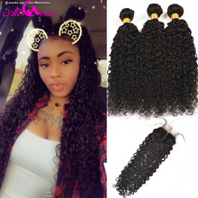 Ali Coco brasilianske Kinky Curly Weave 3 Bundle Med Closure Human Hair Bundle Med Lace Closure 4 * 4 4pcs / lot Tilbud Ikke Remy