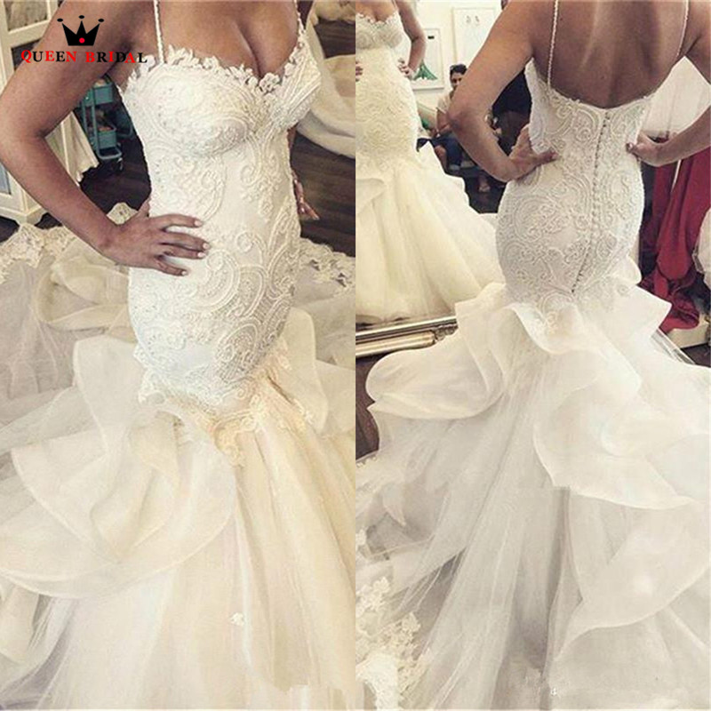 Mermaid Sweetheart Lace Pearls Sequins Big Train Sexy Luxury Formal Wedding Dresses Bridal Wedding Gowns Custom Made WD26M