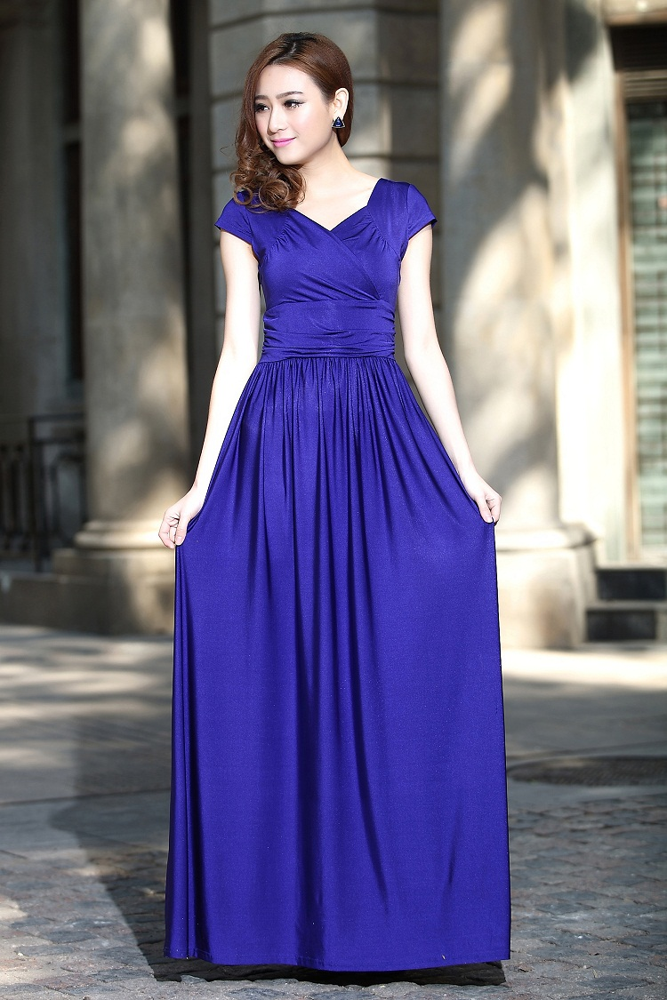 Blue Cap Sleeve Party Maxi Dress Gown bridesmaid Long Plus sizes ...