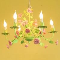 European garden style flower girl children pendant light iron ceramic rose Restaurant bedroom living room hang lamp