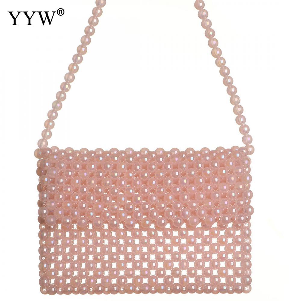 Women Beaded Handbags Handmade Weave Crystal Pearl Tote Bags Shoulder Bag Beads Pink BlackWomen Beaded Handbags Handmade Weave Crystal Pearl Tote Bags Shoulder Bag Beads Pink Black
