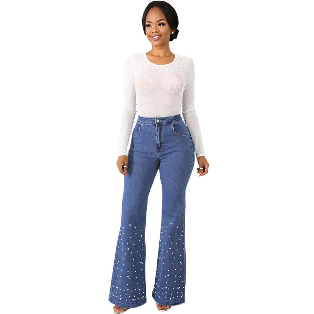 Femmes Vintage taille haute Flare Jeans avec perles perles Jeans longue maman Jeans décontracté lâche jambe large Denim pantalon mode