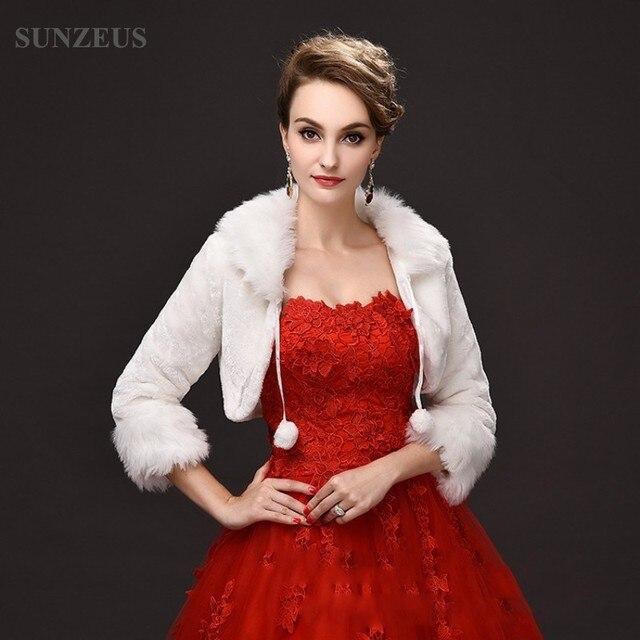 Elegant Wedding Wrap Submissive Faux Fur Long Sleeve Shawl Bridal Bolero Wedding Accessories Winter Wedding Coat S475