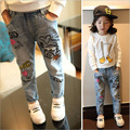 2-12 Year Girls Jeans 2017 New Children Graffiti Denim Trousers Kids Casual Jeans Light Blue Old Style Baby Girl Clothes 0206