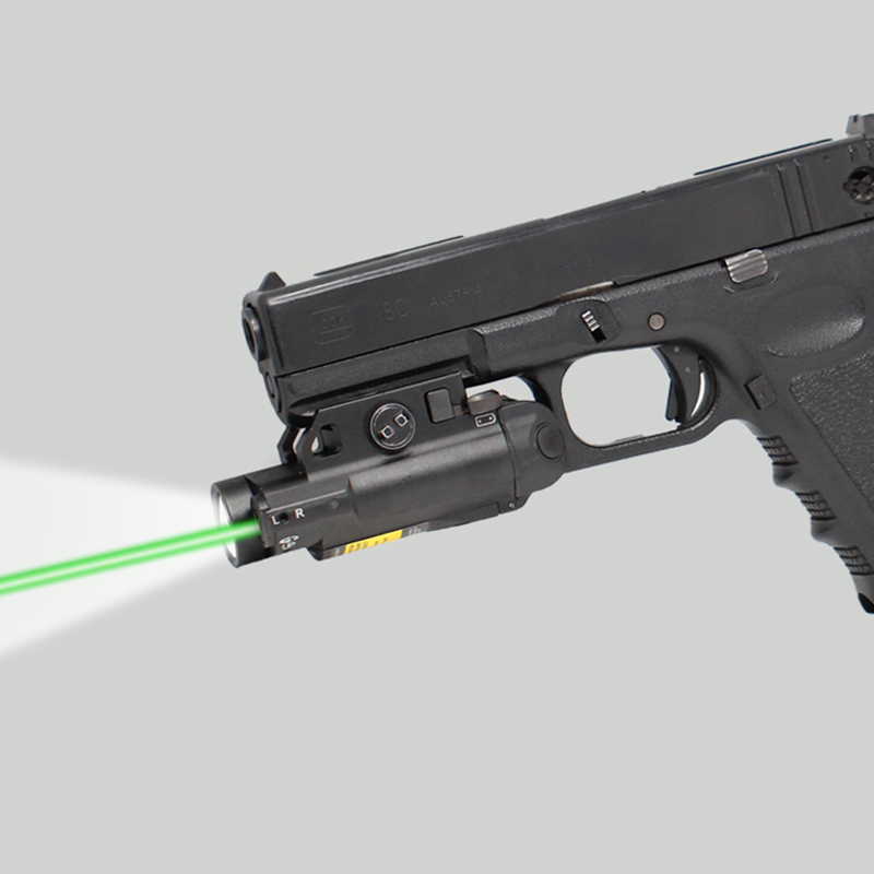 Drop shipping Magnetic tactical rifle pistol rail mounted small green laser sight with led flashlight for
