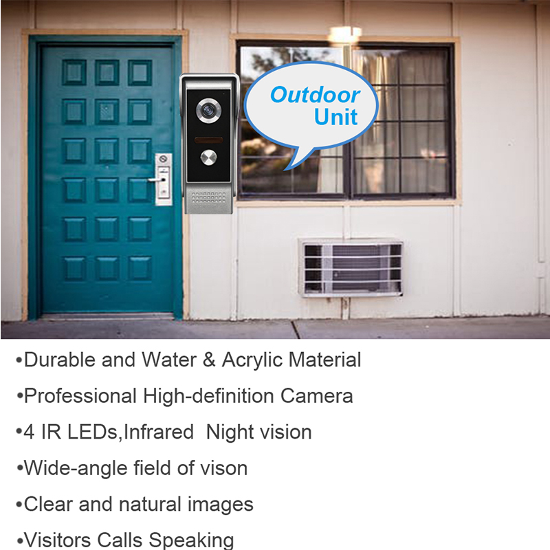 Wired Video Doorbell Intercom System,Dual-way Intercom,Monitor,Unlock With Night Vision Camera 7''Inch Color Screen