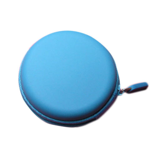 Round Portable Mini Hard Storage Case Bag Box for Earphone Headphone SD TF Cards Sky blue
