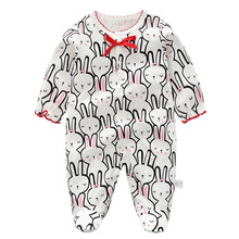 Newborn Baby Girl Romper Rabbit pattern Long Sleeve Cotton jumpsuit Take Home,Infant Sleeper pajama gown