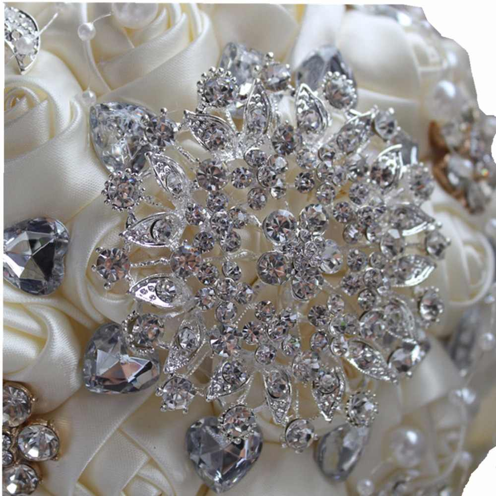 Terbaik Jual Ivory Cream Bros Pernikahan Bouquet De Mariage Polyester Pernikahan Karangan Bunga Pearl Bunga Buque De Noiva PL001