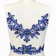 Soddisfatto Angolo Blu 31x38 cm Sew on Con Paillettes Strass Con Scollo A V  Cintura In Vita Da Sposa Costume del Vestito Appliqu. 7e03dda5a6a
