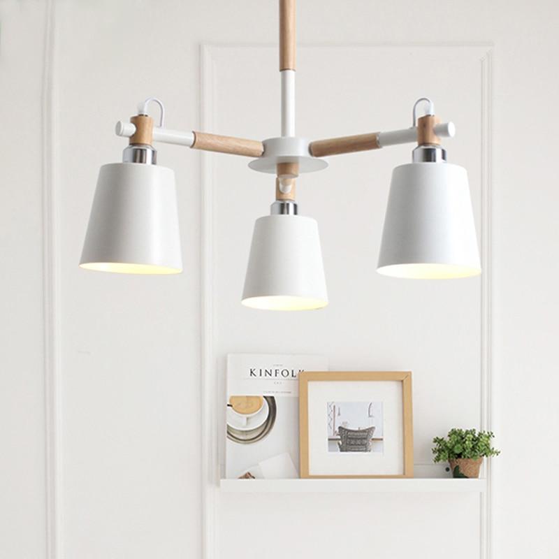 E27 Bulb White Black Metal Suspension Light Modern 3 Heads Wood Pendant Lamp For Living Room Bedroom Fixture Lighting PL555-3