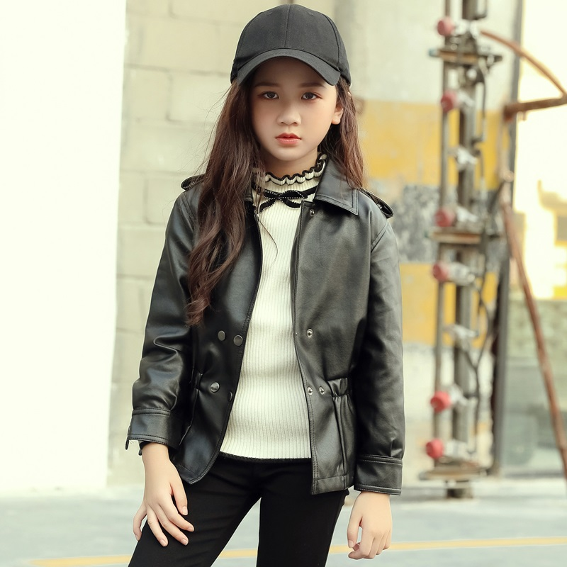 Girls clothes kids spring autumn PU leather jacket girls artificial leather jacket children casual leather jacket 4-14 Y outwear girls clothes pu leather jacket 4 6 8 years kids coats spring autumn 2018 girls leather jackets children outwear zipper coats