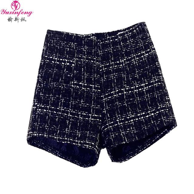 S-2XL Auutmn Inverno Mulheres Shorts com Cintura Alta Espessamento Plus Size Senhoras Tweed Calções Calções de Lã Xadrez Preto Mini
