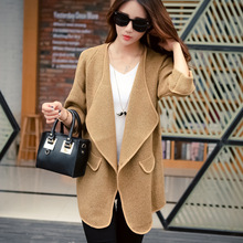 Women Tweed Palto Simple K Woolen Down Coat Autumn Long Warm Jacket Manteau Femme Gray Knitted