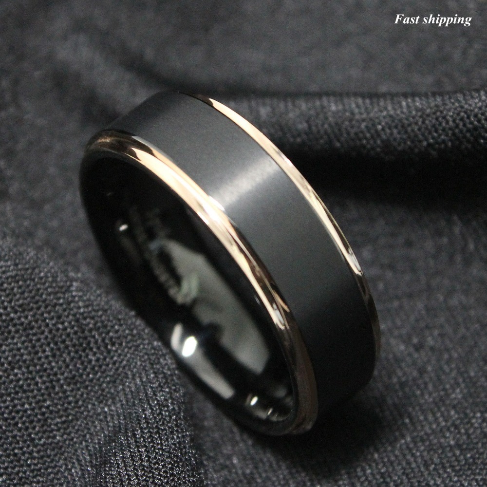 Buy Tungsten Carbide Ring Rose Gold Black