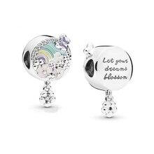 6e490effbeae Auténtico del encanto de la plata esterlina 925 de Fit pulsera de pandora  brazalete Arco Iris colgante de la joyería de DIY