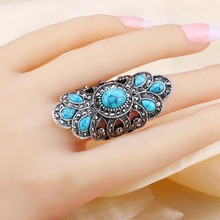 Vintage Look Blue Resin Bohemian Ring Jewelry For Women
