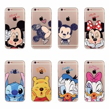 Cartoon Mickey Minnie Mouse Donald Daisy Duck Pooh Stitch Soft Silicon Case For Apple iPhone 5 5s SE 6 6s 7 Plus Transpare Cover