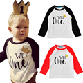 2017 Spring Summer Baby Girls Leisure Long Sleeve Wild One T-shirts Kids T-shirt Boys Child Cotton Edition Fluorescence Crown