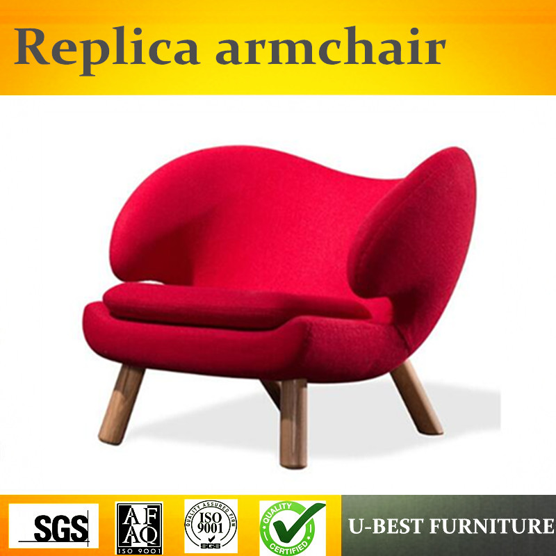U-BEST high quality solid wood furniture hotel relax sofa chair, fabric accent chair wooden chair